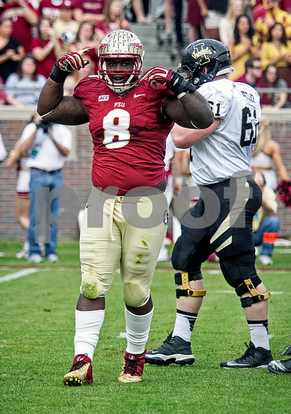 "Tim Jernigan celebrates a tackle for loss with his patented ""Loco Ocho"" dance as Florida State set a school record for most points scored as they dominated Idaho 80-14 in the last home game of the season."