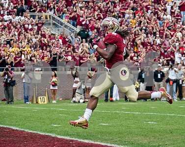Devonta Freeman scores from 60 yards out during the Seminoles first drive of the day.  Freeman finished the day with 131 yards on only 11 carries.  The Seminoles set a school record for most points scored as they dominated Idaho 80-14 in the last home game of the season.