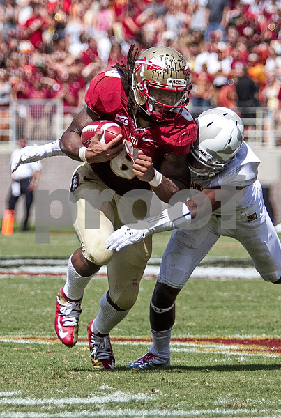 Devonta Freeman gains yards after breaking through an arm tackle. The Seminoles crushed the Maryland Terrapins 63-0 Saturday at Doak Campbell stadium.  The 'Noles will have a bye week next week and will spend the next two weeks preparing for the big showdown in Death Valley against the Clemson Tigers.