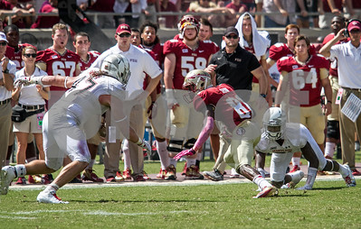 WR Kenny Shaw jukes out two defenders en route to a 33 yard gain.  Shaw continues his hot streak again leading the team in receiving yards and receptions. The Seminoles crushed the Maryland Terrapins 63-0 Saturday at Doak Campbell stadium.  The 'Noles will have a bye week next week and will spend the next two weeks preparing for the big showdown in Death Valley against the Clemson Tigers.