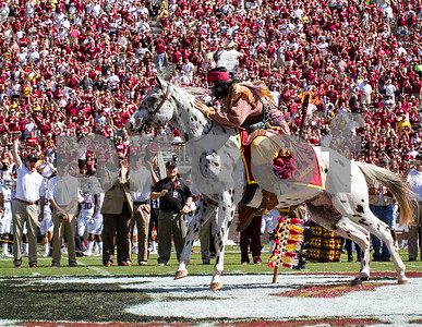 New Athletic Director Stan Wilcox gets an up close view of one of the nation's most popular traditions as Osceola plants the flaming spear at midfield. The offense was firing on all cylinders as the Florida State Seminoles dominated the Maryland Terrapins 63-0 at Doak Campbell stadium.  FSU will have a bye week this weekend and will spend the next two weeks preparing for the big showdown in Death Valley against the Clemson Tigers.