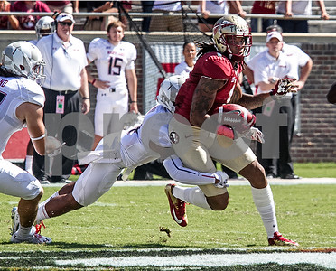 Kelvin Benjamin makes a first down reception on a slant across the middle. The Seminoles crushed the Maryland Terrapins 63-0 Saturday at Doak Campbell stadium.  The 'Noles will have a bye week next week and will spend the next two weeks preparing for the big showdown in Death Valley against the Clemson Tigers.