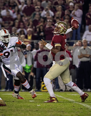 Jameis Winston passed for 325 yards and a TD as the #3 Florida State defeated the #7 ranked Miami Hurricanes 41-14 Saturday night in a top 10 ACC match-up of unbeaten teams.