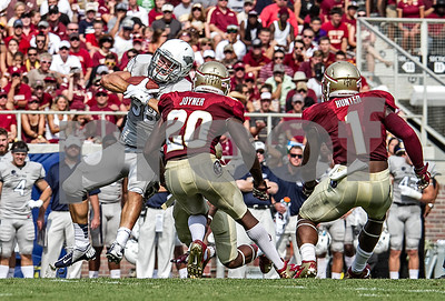 Nevada RB Nate Lytle's feet come off the ground as he is hit in the back by FSU DB PJ Williams.  Lamarcus Joyner and Tyler Hunter follow suit.  The Seminoles defeated the Wolfpack 62-7 Saturday at Doak Campbell stadium.