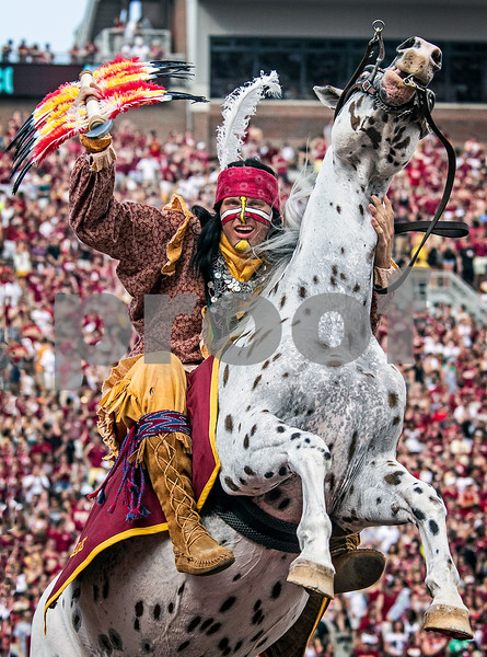 Chief Osceola and Renegade celebrate after another touchdown as Florida State seemingly scored at will. The Seminoles defeated the University of Nevada 62-7 Saturday as Florida State improved to 2-0 on the season.