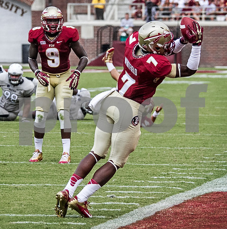 Freshman WR Kermit Whitfield makes an incredible reception as he stays in bounds on a 3rd down conversion.  The Seminoles defeated the University of Nevada 62-7 Saturday as Florida State improved to 2-0 on the season.