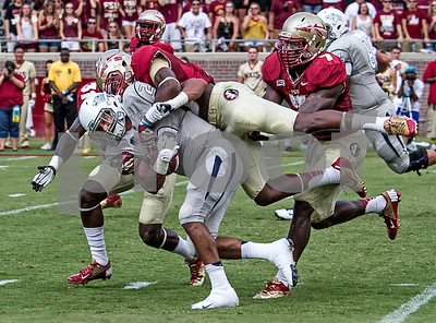 Another rising freshman sensation is CB Jalen Ramsey.  Ramsey made an impact in game one with a big interception and has been key in several defensive plays thus far.  Here Ramsey leaps on Nevada RB Chris Solomon.   The Seminoles defeated the Wolfpack 62-7 in Saturday's home opener at Doak Campbell stadium.