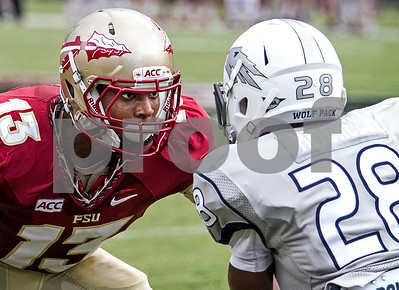 Another rising freshman sensation is CB Jalen Ramsey.  Ramsey made an impact in game one with a big interception and has been key in several defensive plays thus far.  Here Ramsey impedes Nevada gunner Elijah Mitchell.   The Seminoles defeated the Wolfpack 62-7 in Saturday's home opener at Doak Campbell stadium.