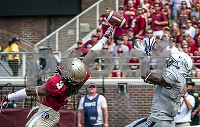 Ronald Darby just gets a hand on what should have been a sure TD pass to WR Brandon Wimberly.  Darby was able to deflect the ball enough to break up the pass.  The Seminoles defeated the University of Nevada 62-7 Saturday as Florida State improved to 2-0 on the season.