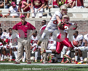 Coach Jeremy Pruitt looks on as a pass is broken up during Florida State's 2013 Garnet and Gold Spring game.