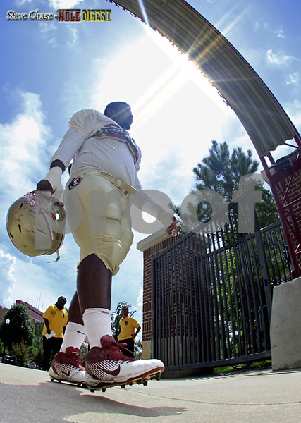 DT Everett Dawkins makes his way onto the practice field as Summer camp comes to a close.