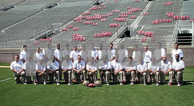 2013 Media Day began early this morning at Doak Campbell as players and coaches conducted interviews with print and digital media.  Following the interview sessions the team made their way to Bobby Bowden field for photo ops and team pictures.  The 2013 Florida State Seminole coaching staff.