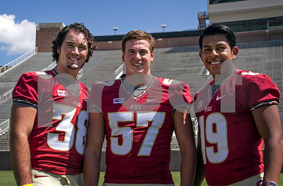 2013 Media Day began early this morning at Doak Campbell as players and coaches conducted interviews with print and digital media.  Following the interview sessions the team made their way to Bobby Bowden field for photo ops and team pictures. Special Teams unit: Punter Cason Beatty, Long snapper Phil Doumar, and Kicker Roberto Aguayo.