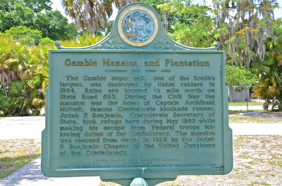 The Gamble Plantation Historic State Park preserves the mansion of an antebellum sugar plantation.  Built in the mid-1800's, the mansion is the only one of its kind on Florida's west coast.  Major Gamble eventually owned over 3,500 acres for sugar production with slave labor but nature disasters and bad sugar prices drove him into debt and he sold the plantation in 1859.