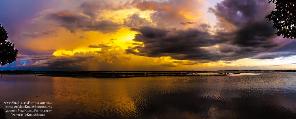 Sunset Storm Panorama, Lake Toho / Kissimmee Florida
