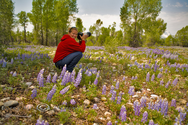 Cindy sitting in the Lupine Field - Grand Teton National Park 2008