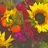 Flowers of Fall - Sunflower and Baby Pumpkins