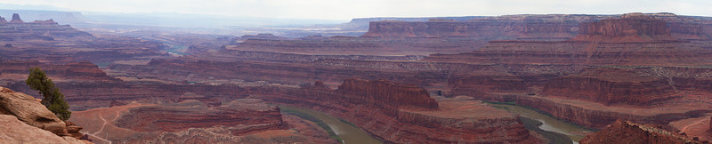 A panorama near the confluence of the Green and Colorado Rivers at Dead Horse Point State Park, UT.