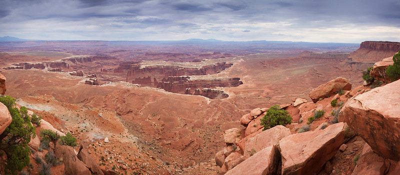 A panorama of Monument Basin in Dead Horse Point State Park, UT.