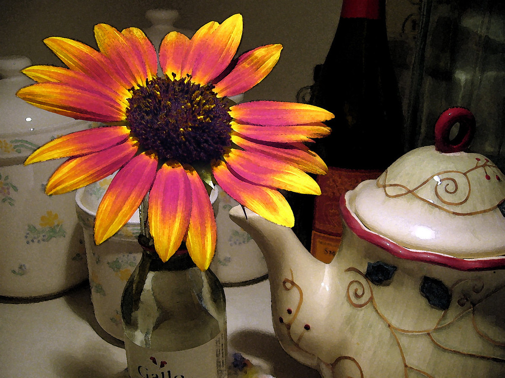 Sunflower and Teapot<br /> One of the sunflowers that Becky grew this year.<br /> Taken in just the lighting of the under cabinet lights in the kitchen.