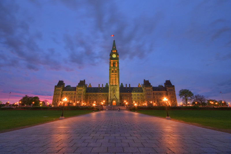 The Centre Block of Parliament Hill in Ottawa, Ontario.
