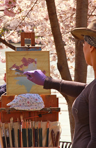 I love this picture of her brushes and painting.  I wish I had given both artist my card so they could see these!