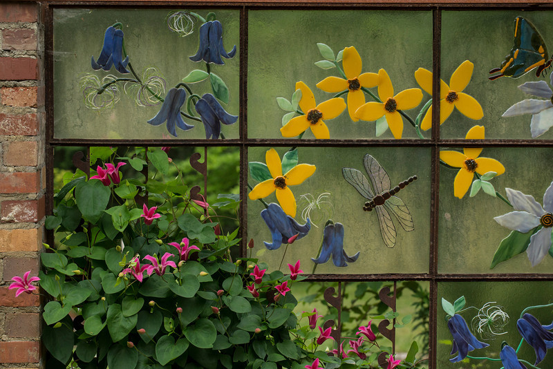 FUSED GLASS CLEMATIS PANELS & TRELLIS