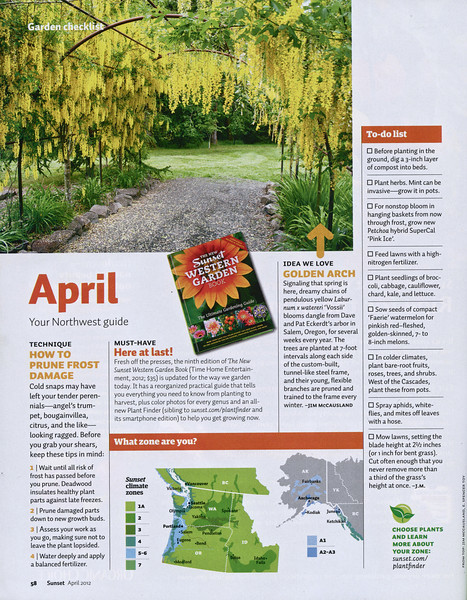 OUR GARDEN HIGHLIGHTED IN THE APRIL 2012 SUNSET MAGAZINE