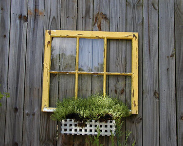 Wonderful and attractive way to recycle and old window!<br /> Erin's Meadow Herb Farm<br /> Clinton, TN 6/20/07