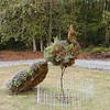 Peacock Topiary at Erin's Meadow. How clever! It is planted with purple and tricolor sage, rosemary, thyme, and violas.