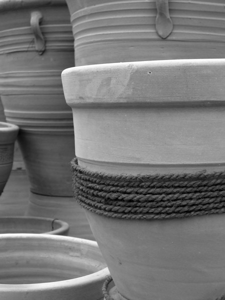 Terra cotta planters made into b&w
