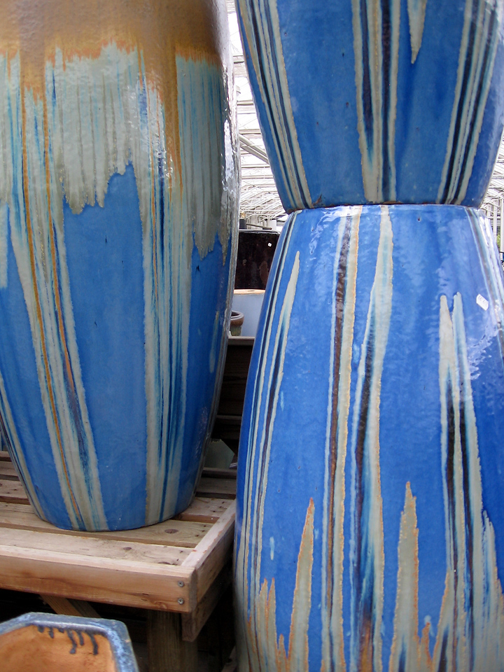 Tall and mostly blue planters