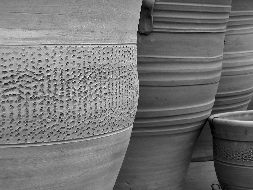 Terra cotta planters made into b&w
