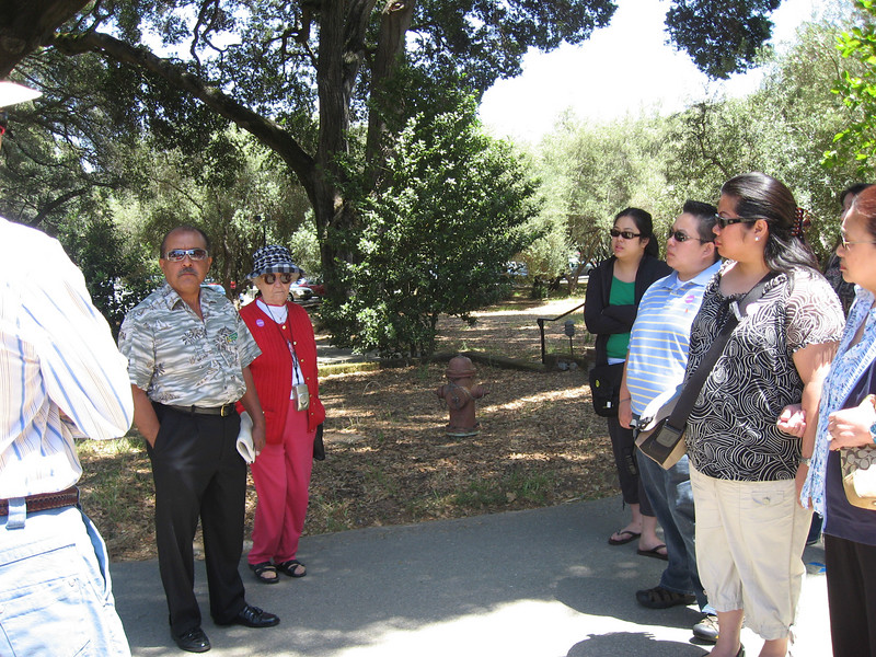 "we got to filoli 10 minutes after the tour started, but our guide let us join the tour even though we didn't check in. notice everyone wearing the purple ""saturday"" admission stickers except us."