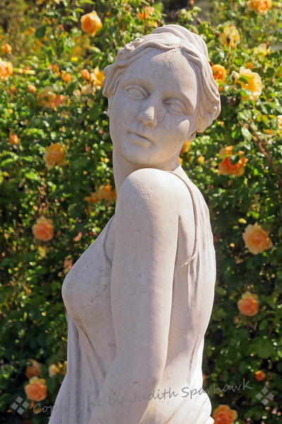 Look Over My Shoulder ~ While visiting the Edward Dean Museum in Cherry Valley, CA, I found this statue in the rose garden, and shot it from several angles.  I liked this one looking over the shoulder.