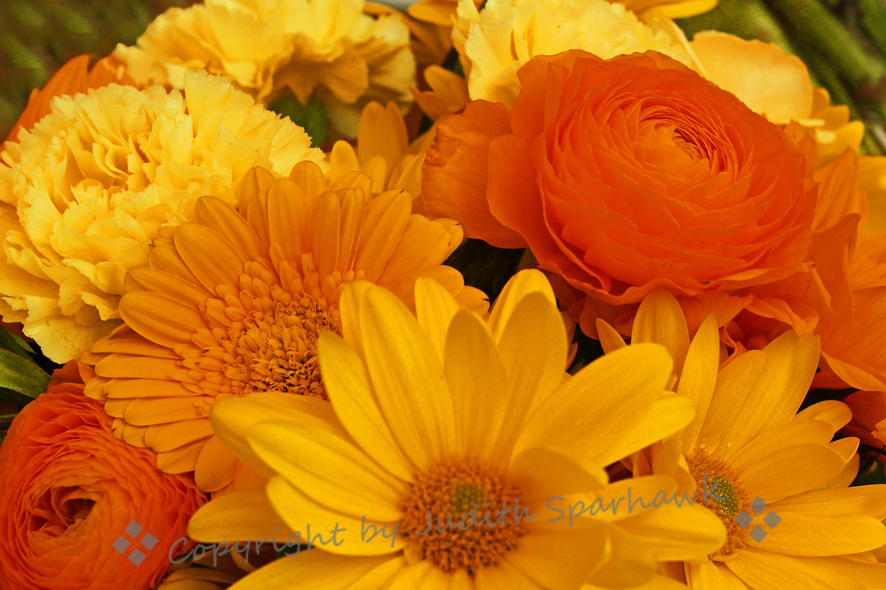 Yellow Spring Bouquet ~ This mixed arrangment of yellow and orange flowers had a fresh and cheery look about it.