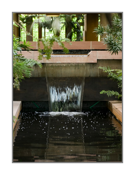 A water feature inside the visitor center at the Denver Botanical Garden