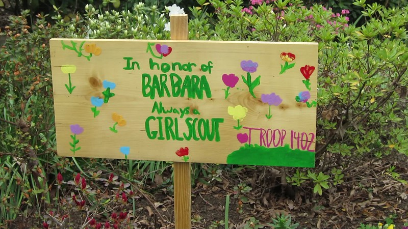 A 03302017 Sisters' Garden, Chapel Hill NC (433p) (signs, sisters) - girl scout sign in honor of Barbara (d June 15 2016)