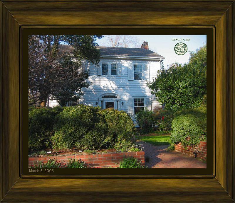 Elizabeth&Edwin Clarkson 1927(rstrd 1990) home fronting their garden [brdrs,clip,txt,wood09 frm]