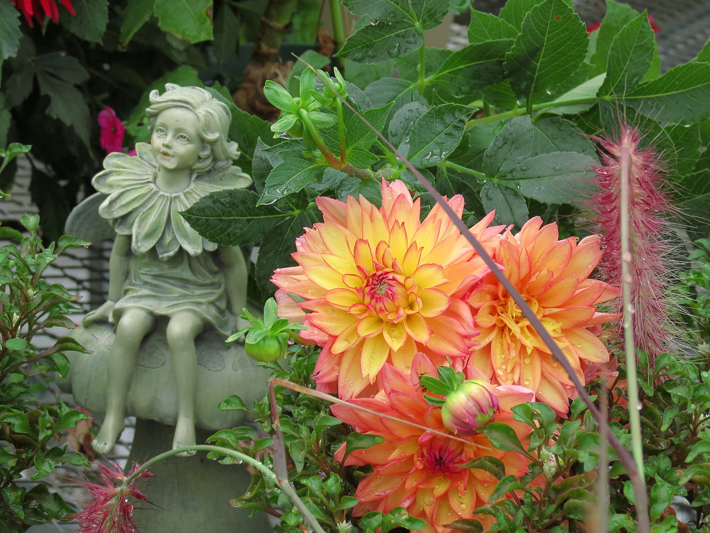 Garden Statue, Dahlia and Ornamental Grass.