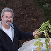 Rick holding turnip from his hoop garden: January 2011.