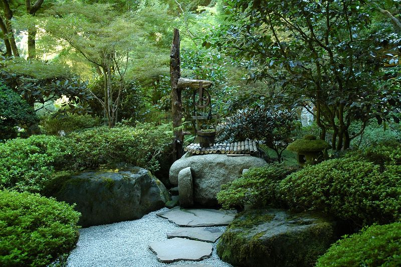 Portland, OR Japanese Garden, washing station at Tea House