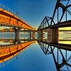 Light Rail and Old Railroad Bridges Kaleidoscope