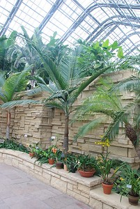 Entrance to the Daugherty Conservatory, a four-level greenhouse.