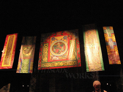 Celtic art banners over stage
