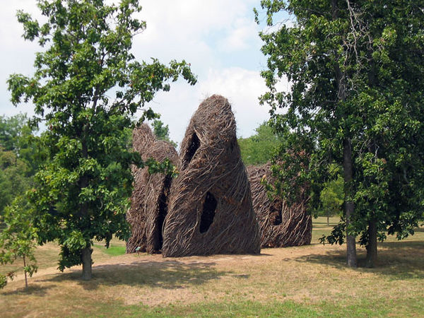 "The ""stick huts"" sculpture."