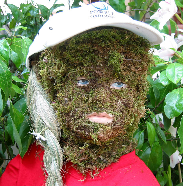 Moss girl.<br /> Part of the Moss family exhibit in the conservatory.