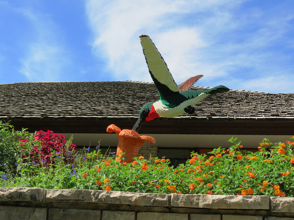 This Hummingbird and flower is one of the Lego sculptures on display.