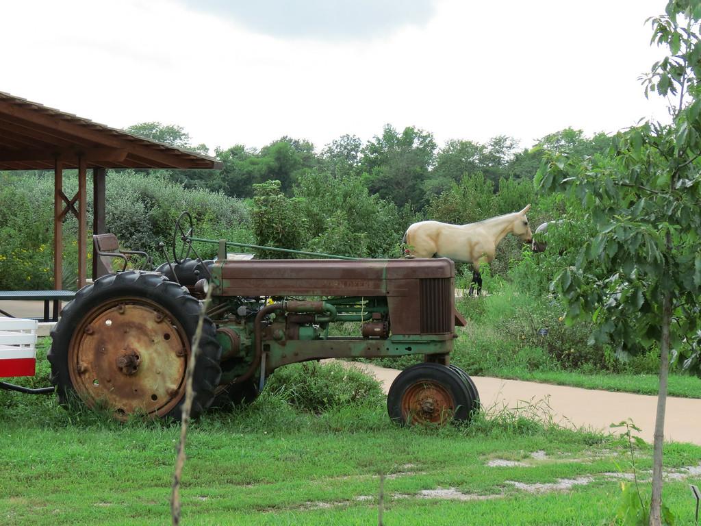 Idle farm tractor.