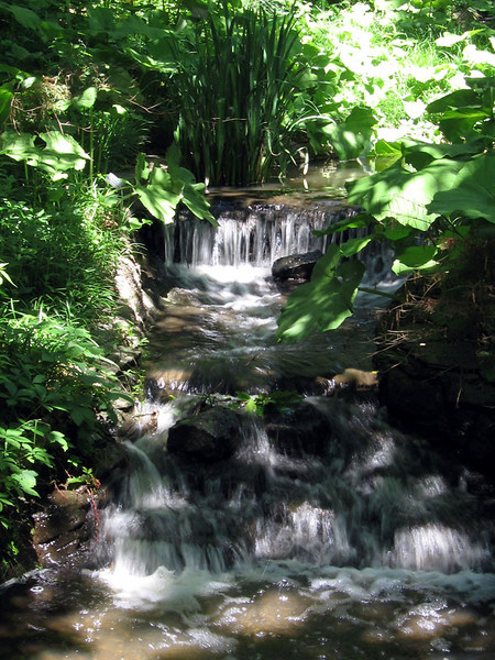 One of the waterfalls in the Waterfall Garden.